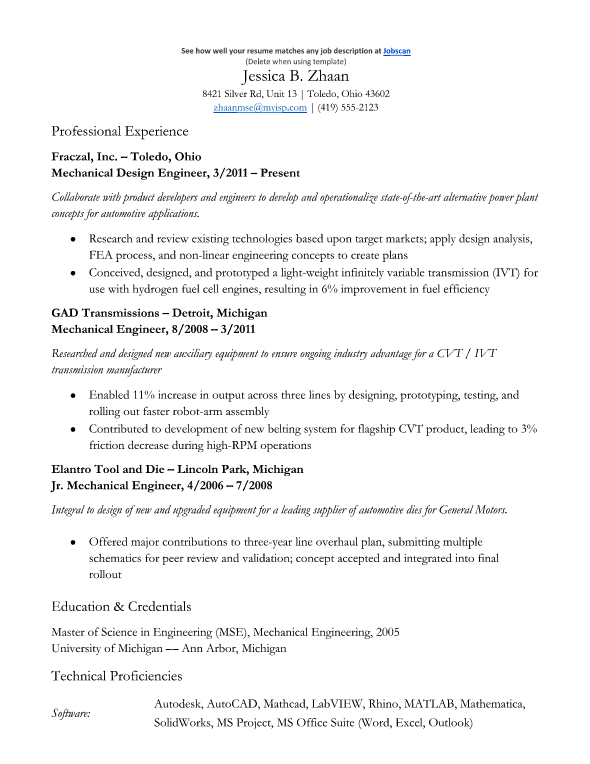 Mechanical Engineering  Validation Engineer Resume