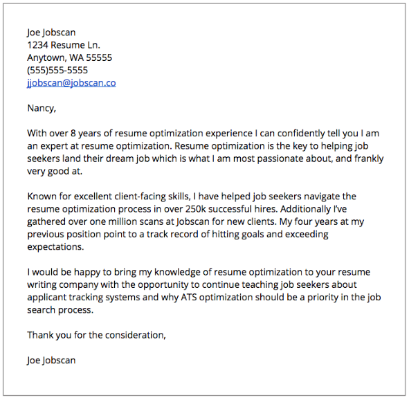 Job Application Cover Letter Example