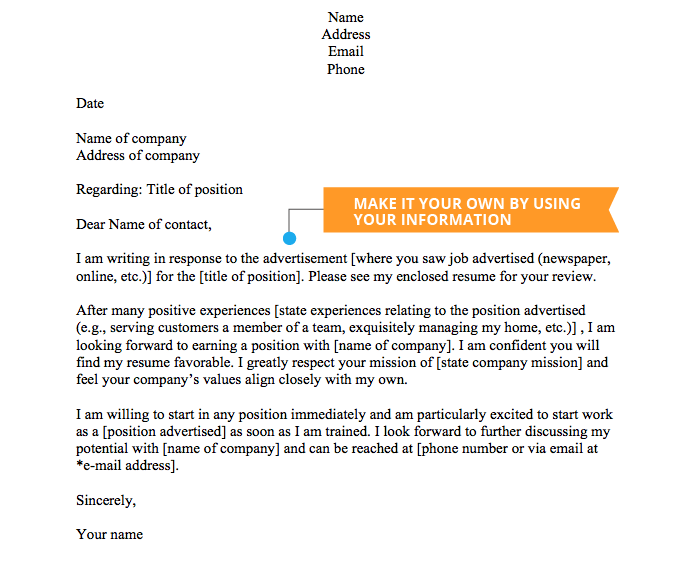 cover letter template completed example