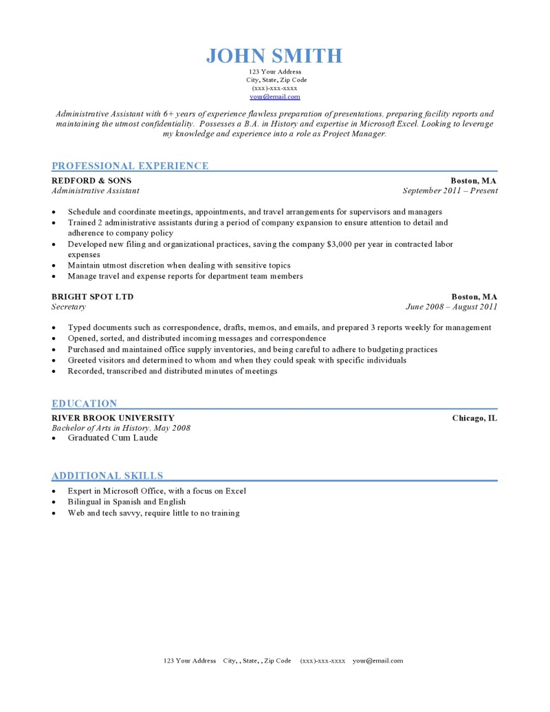 Chronological Resume Example  Resume Setup Examples