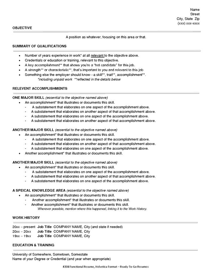Functional Resume Example  Functional Resumes