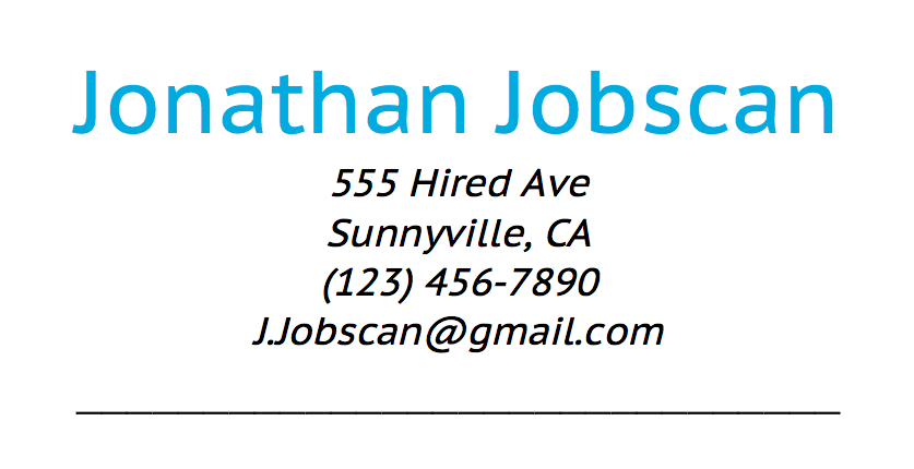 example resume contact information
