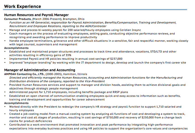 Nice Example Resume Work Experience Section To Resume Guide