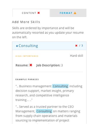 Optimize your resume keywords with the Power Edit resume editor