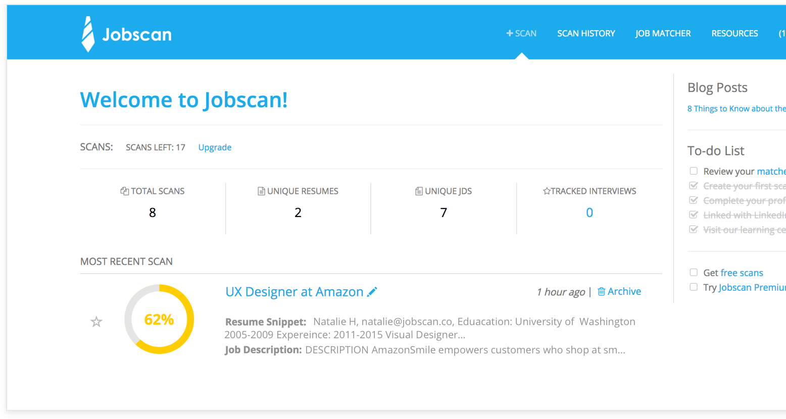 your job search stats saved resume versions and job descriptions