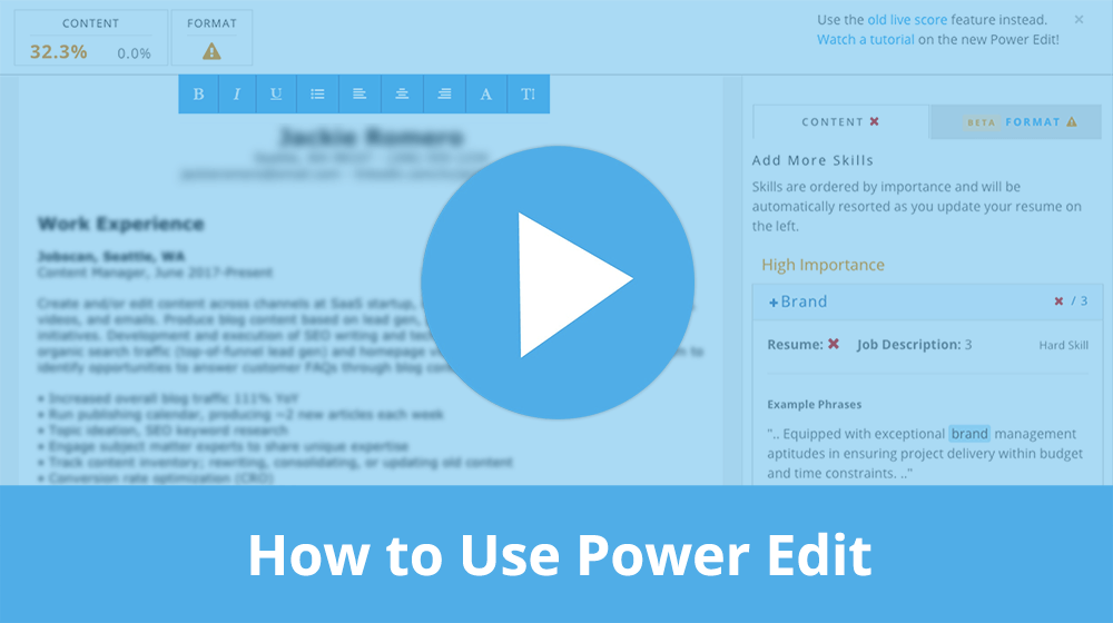 Video tutorial for the Jobscan Premium Power Edit feature.