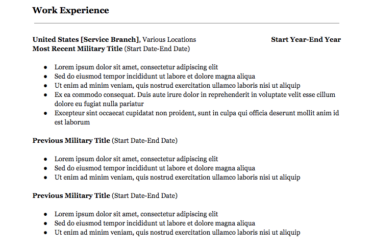 Converting military experience civilian resume resume administrative management