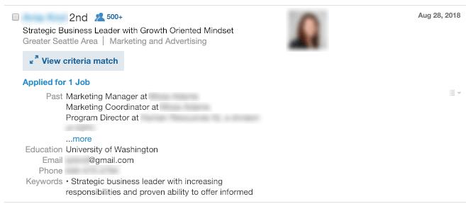 كيف يبدو مقدم الطلب في LinkedIn