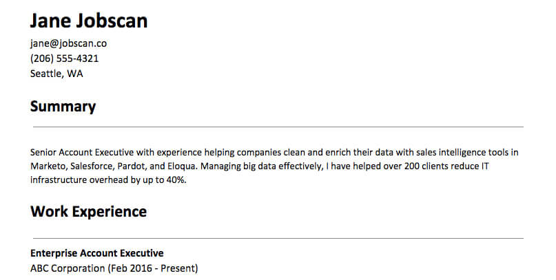 Samples for resume summary exicutive resume